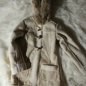 Justice Girls Faux Sheepskin Coat Toggle Sz 10